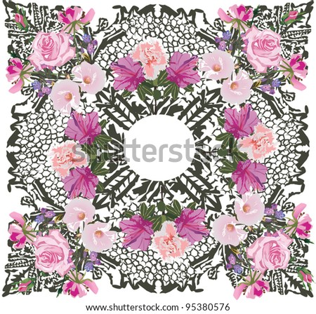 illustration with light pink flower decoration on white background