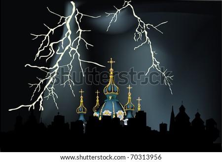 illustration with lightning