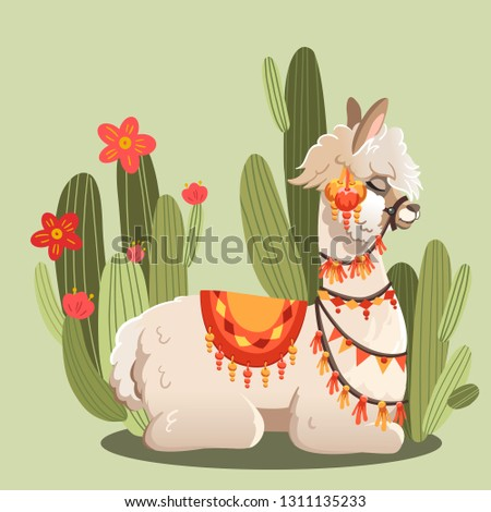 Illustration with llama and cactus plants. Vector animal green background. Greeting card with Alpaca.