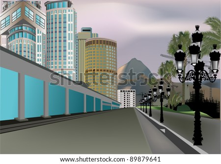 illustration with modern buildings near street in south city