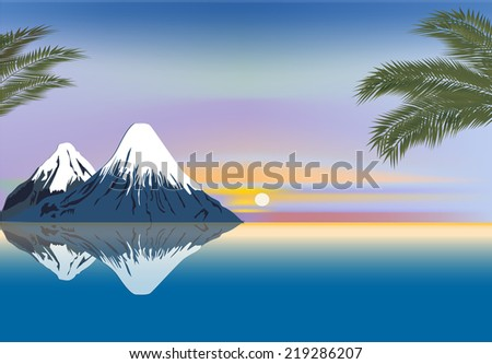 illustration with mountains