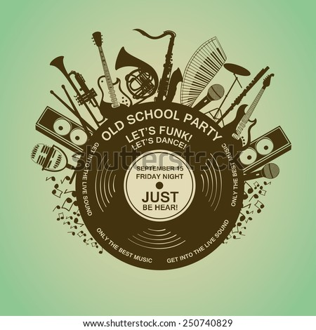 Illustration with musical instruments and vinyl record. Music concept. Musical creative invitation