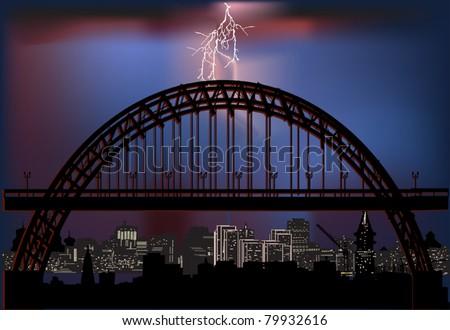 illustration with night city bridge and lightning