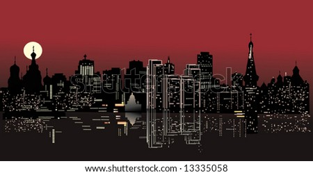 illustration with night city with reflection silhouette