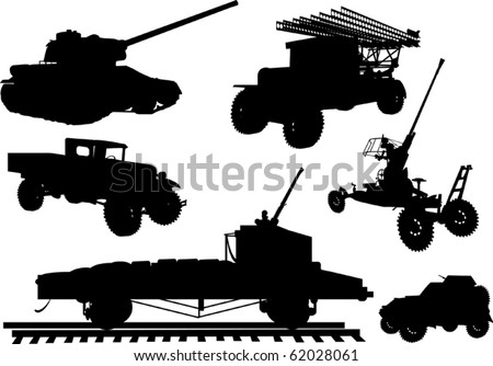 illustration with obsolete armament collection on white background - stock vector