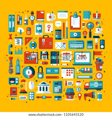 Illustration with office tools and stationery. Modern flat style with bright colors on yellow background.