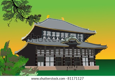 illustration with pagoda and green tree branches