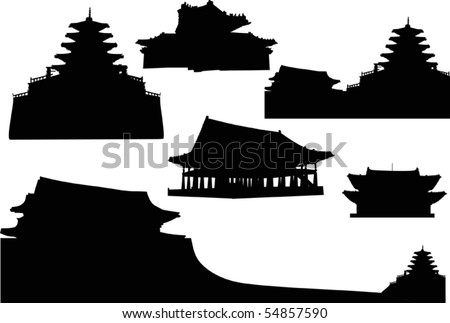 illustration with pagoda silhouettes collection - stock vector
