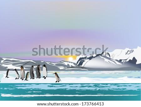illustration with penguins in ice desert landscape