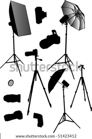 illustration with photo studio equipment isolated on white