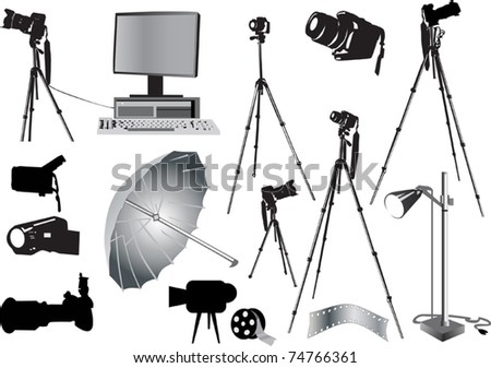 illustration with photo studio equipment isolated on white
