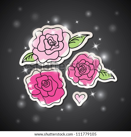 illustration with pink hand drawn roses on dark background