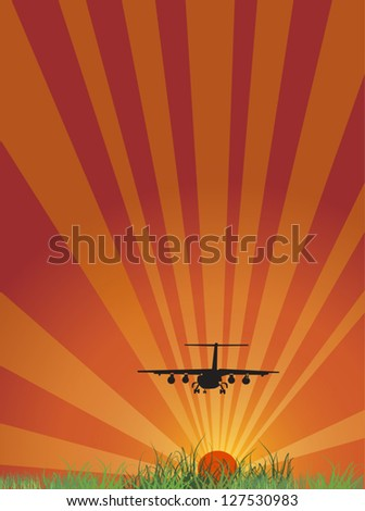 illustration with plane above green grass at sunset