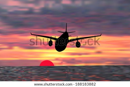 illustration with plane at sunset above sea - Shutterstock ID 188183882