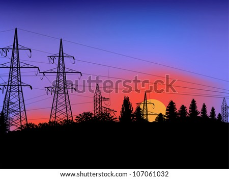 illustration with power line on