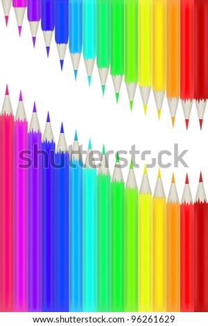 illustration with rainbow color pencils isolated on white background - stock vector