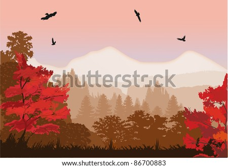 illustration with red autumn