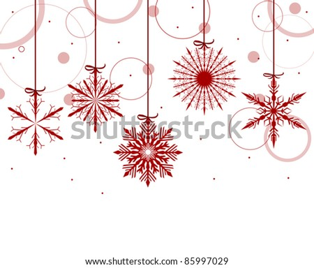 illustration with red snowflakes on white background