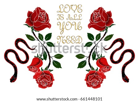 illustration with rose and