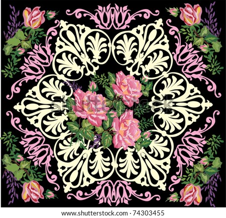 illustration with rose decoration in dark frame pattern