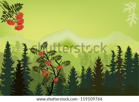 illustration with rowan tree in green mountains - stock vector