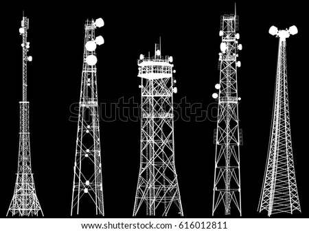 illustration with set of antenna silhouettes isolated on black background