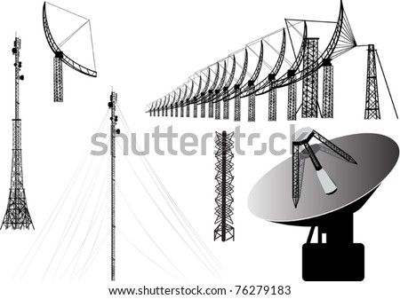 illustration with set of antenna silhouettes isolated on white background