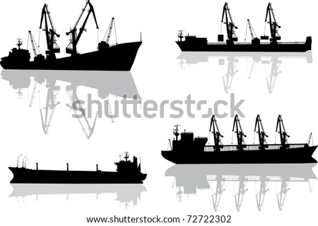 illustration with set of commercial ships isolated on white