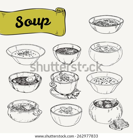 illustration with set of different soups cuisines. Vector illustration drawn by hand, graphics