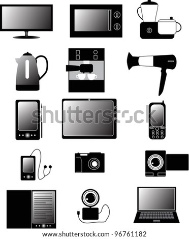 illustration with set of electronic devices isolated on white background - stock vector