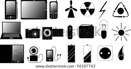 illustration with set of electronic related icons