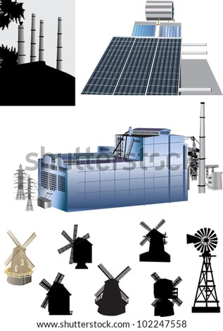 illustration with set of energy generators