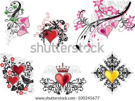 illustration with set of isolated floral elements