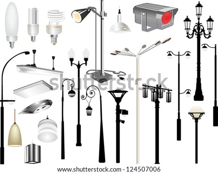 illustration with set of lighting equipment isolated on white background
