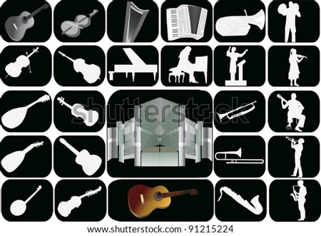 illustration with set of music instruments isolated on black background