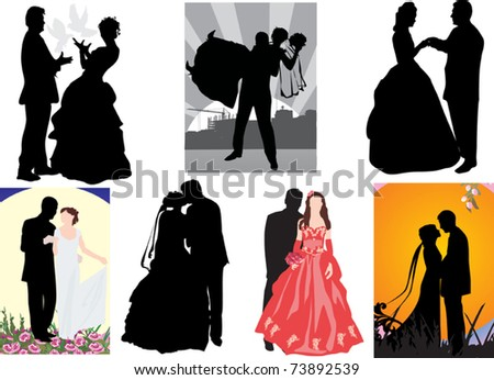 stock vector illustration with set of wedding couples