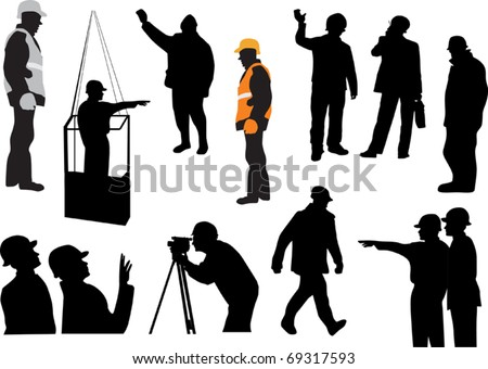 illustration with set of workers isolated on white background