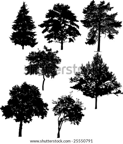 illustration with seven tree silhouettes isolated on white background