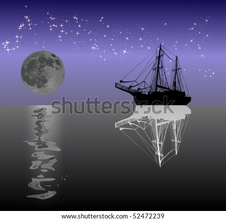illustration with ship silhouette under moon