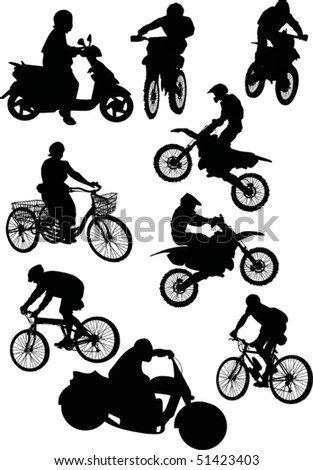 illustration with silhouettes of men on motorcycle and bicycle isolated on white