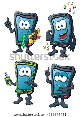 Illustration with simple gradients with the image of cute cartoon smartphone Imagine de stoc ©