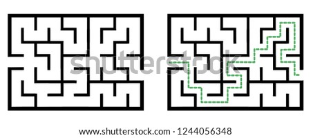 Illustration with simple labyrinth, maze conundrum for kids. Baby puzzle with entry and exit. Children riddle game.
