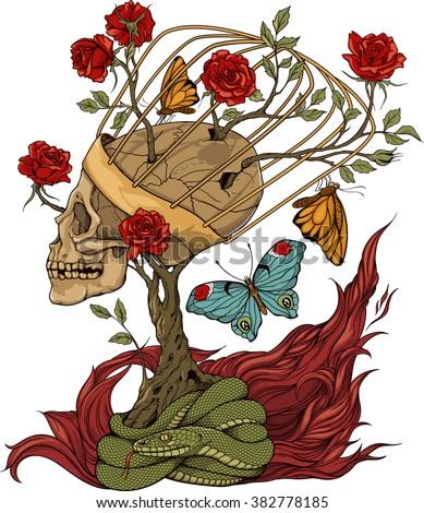 illustration with skull  bush