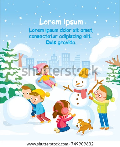 Illustration with snowy background and kids playing