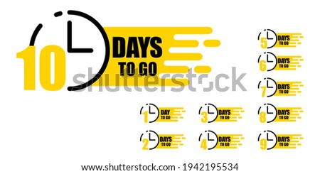 Illustration with ten days to go. Vector illustration design. Discount sale vector. Timer icon symbol. Stock image. EPS 10. stock photo