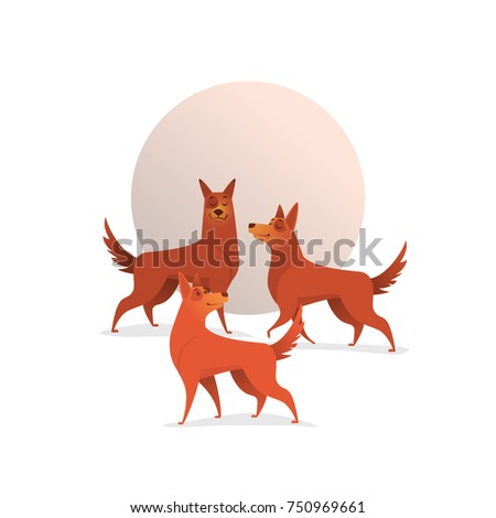 Illustration with three cheerful dogs. Illustration can be used as a hard pint on clothes