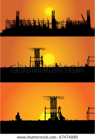 illustration with three construction views in sunset