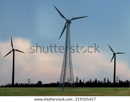 illustration with three wind power generator silhouettes in country landscape