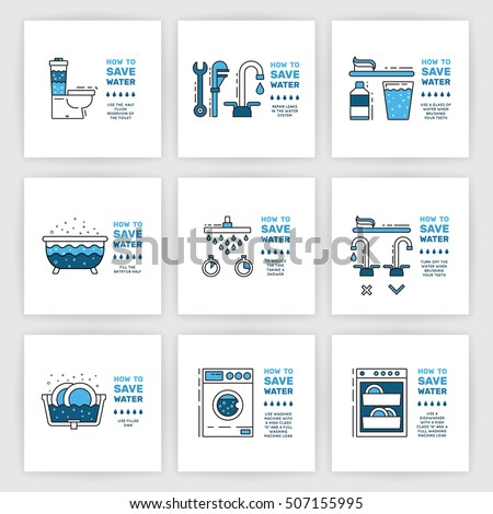 Illustration with tips on saving water consumption by man in a house - Iconswebsite Com Icons Website Search Icons Icon Set