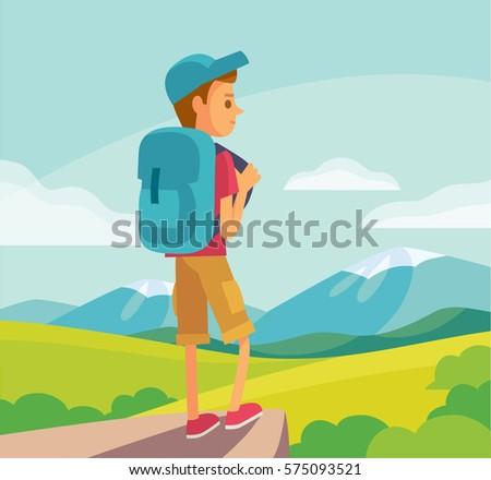 illustration with tourist hiking